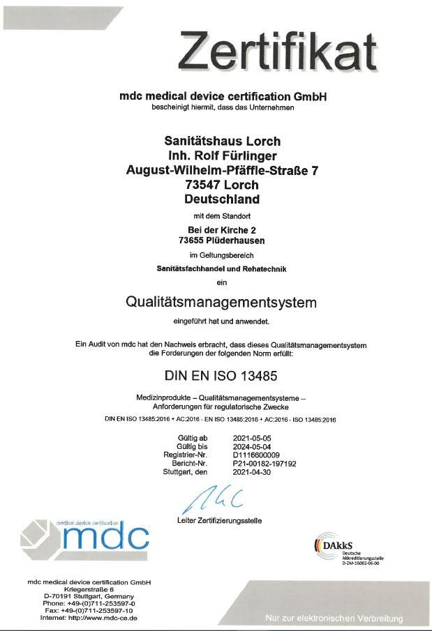 Das Sanitätshaus Lorch mit der Filiale Gesundheitshaus Plüderhausen, hat wieder erfolgreich sein Qualitätsmanagementsystem gem ISO 13485 Medizinprodukte   verlängert.